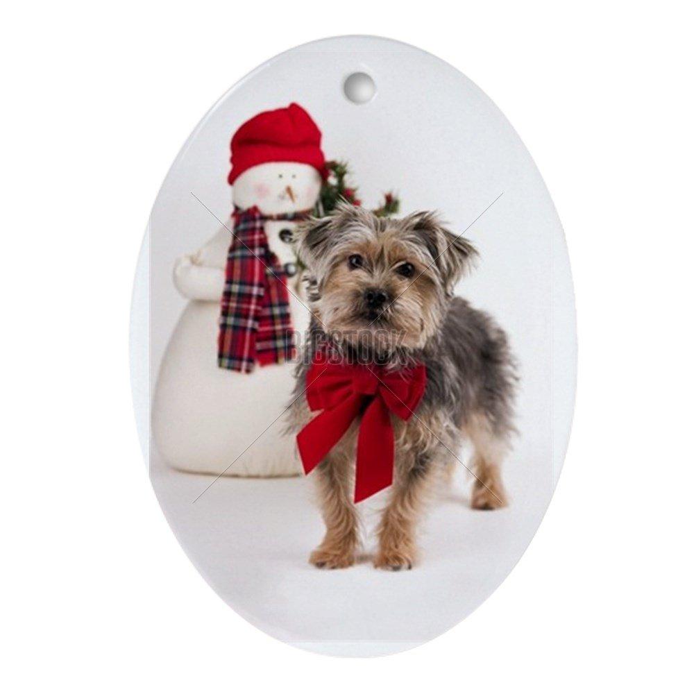 Amazon.com: CafePress - Christmas Yorkie-poo Oval Ornament - Oval ...