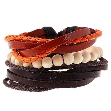 Gespout Bracelets Homme Bijoux Cuir Differentes Couleurs Cadeau D