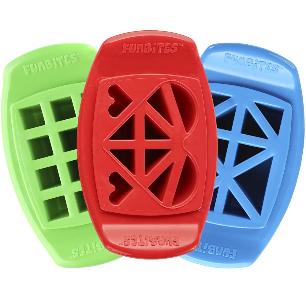 FunBites Food Cutter Set, Green Squares, Red Hearts, Blue Triangles