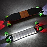 Electric Skateboard Bluetooth Controller Longboard- Powerful Dual Hub Motors 25MPH Top Speed 15 Mile Range with LED Night Lights Remote Control Commute By Buffalo