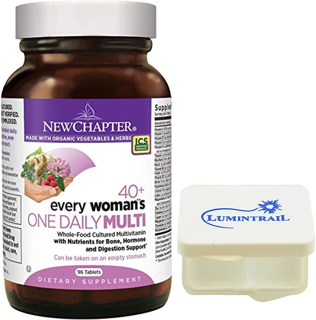 New Chapter Every Woman's One Daily 40+, Women's Multivitamin Fermented with Probiotics + Vitamin D3 + B Vitamins - 96 ct Bundle with a Lumintrail Pill Case