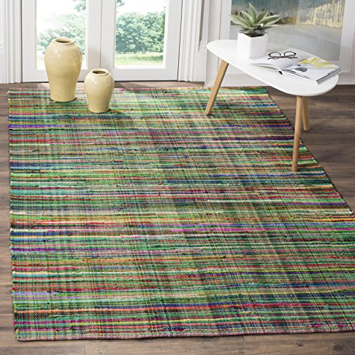 Safavieh Rag Rug Collection RAR240E Green and Multi Area Rug, 8' x 10' by Safavieh
