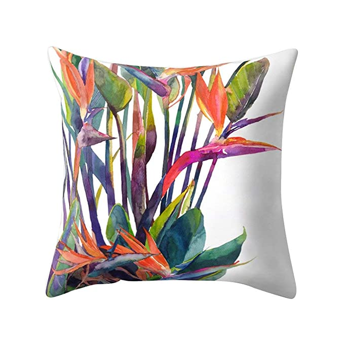 wintefei Modern Multicolor Tropical Leaves Print Sofa Bed Throw Pillow Case Cushion Cover