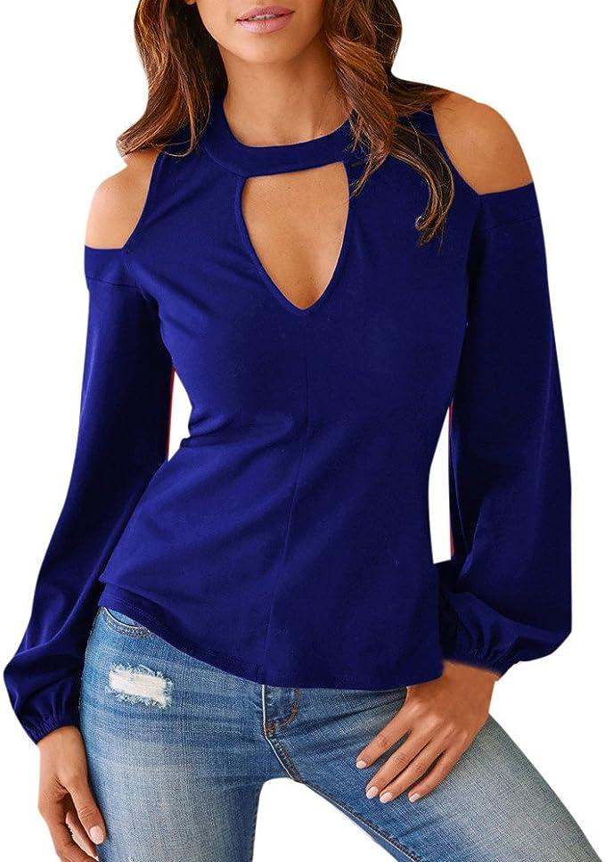 Camicia Blusa Donna Shirt Tops Elegante, Camicetta Spalla