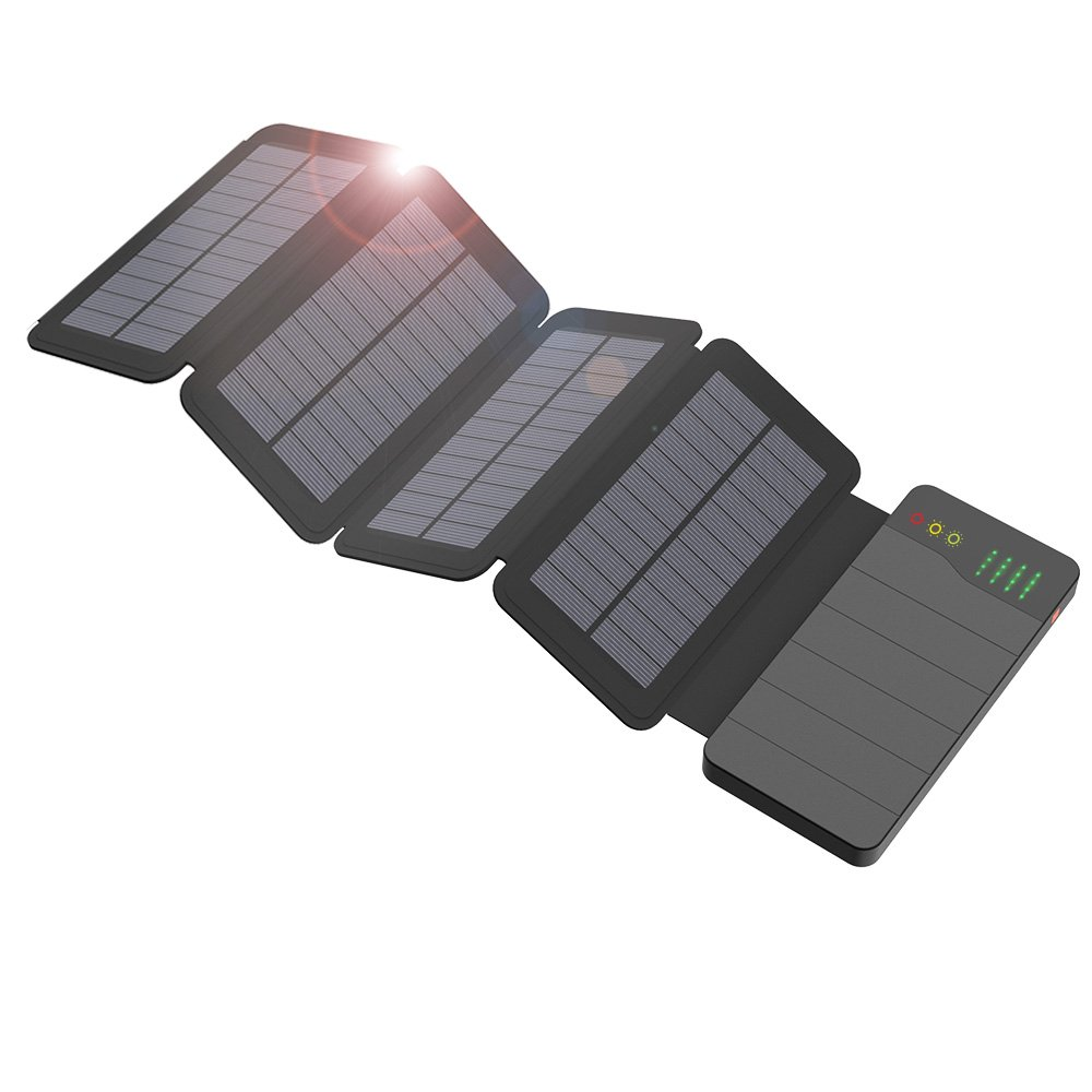 ALLPOWERS 10000mAh Solar Charger with Light Sensored Technology and LED Light Solar Power Bank Waterproof Foldable Portable Battery Pack for Cellphone, Outdoor, Camping, Travelling
