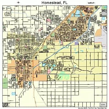 Map Homestead Florida.Amazon Com Large Street Road Map Of Homestead Florida Fl