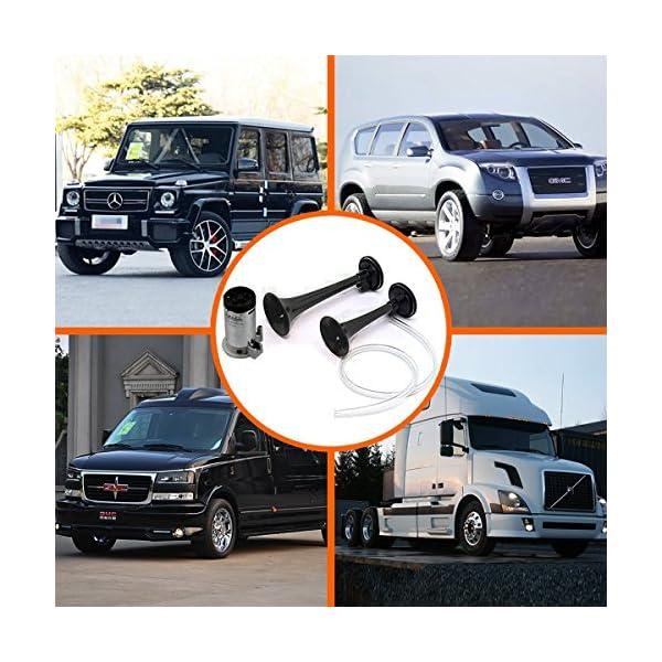 gampro 12V 135dB Dual Trompeta Air Horn Kit con dos trompetas y compresor para camión coche SUV RV Van Barco o cualquier 12V Vehículos 3