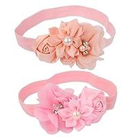 Sharplace 2X Rosa Blume Baby-Stirnband Fotografie Requisiten Haarband