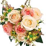 SOLEDI Artificial Flowers 12 Heads Lifelike Autumn Xiangshan Rose For Wedding Home Bar Decor(Pink)