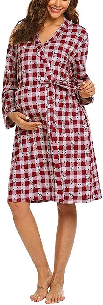 Maternity Plus Size Long Sleeve V-Neck Soft Nursing Nightgown Sleepwear Robe ZOMUSAR Maternity Dress