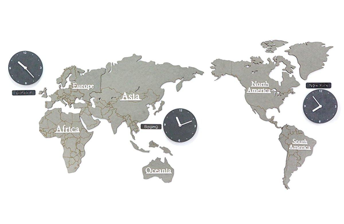 GREEM MARKET(グリームマーケット) 選べるカラー 壁掛け時計 掛け時計 大きい 特大 ウォール クロック シンプル ナチュラル 北欧風 木製 世界地図 ワールド くすみ色 グレー 灰色 品番:GMS01522-G B079MB2VY2グレー