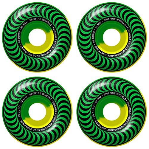(Spitfire Skateboard Wheels F4 Classic 5050 Swirl Green/Yellow 52mm Set)
