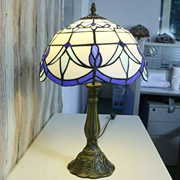WETRR Lámpara de Mesa, Vintage vidrieras lámpara de Mesa ...