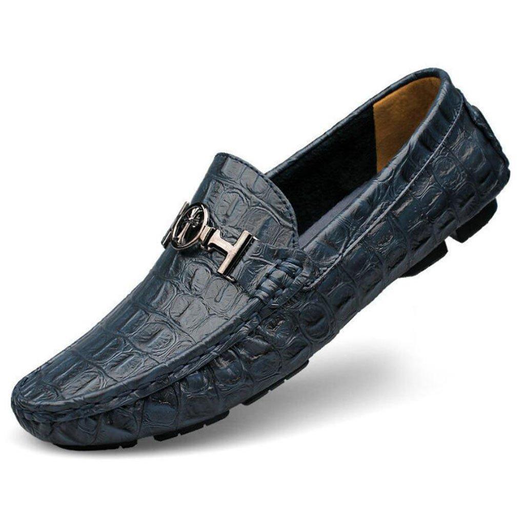 GAOLIXIA Zapatos de cuero de negocios de los hombres Zapatos de conducción de estilo británico de primavera y verano Zapatos planos ocasionales Zapatos perezosos Zapatos de guisantes de moda de gran tamaño 44--48 ( Color : Azul , tama