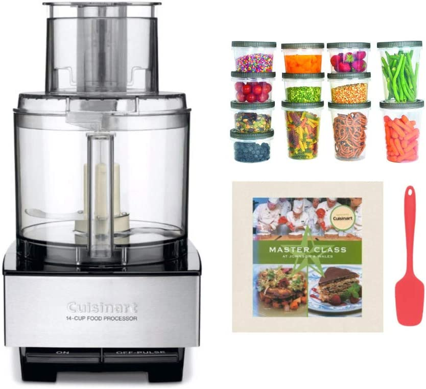 Cuisinart DFP-14BCNY Custom 14-Cup Food Processor with Silicone Spatula, Cookbook, and Plastic Storage Containers Bundle (4 Items)