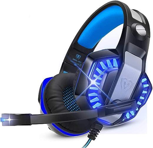 Cuffie Da Gioco Per Ps5 Con Microfono,Pc, Xbox One,Laptop, Surround, Cancellazione Del Rumore,Con Luci Led,Controllo Del Volume Per Smartphone,Computer, Nintendo Switch Blue