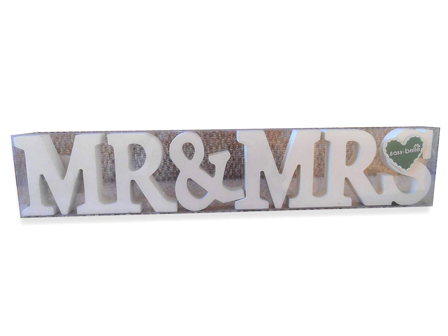 RJB Stone Mr and Mrs, Wooden Letters in Cream KitchenCentre KSH-003