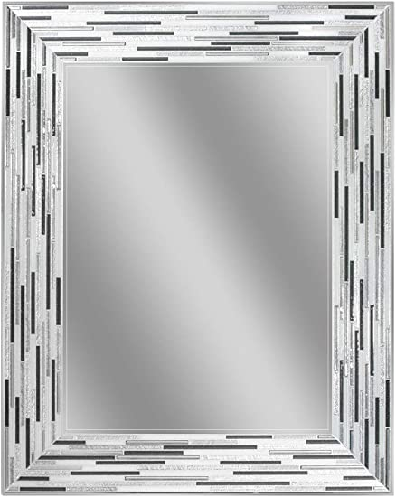 Headwest Reeded Charcoal Tiles Wall Mirror