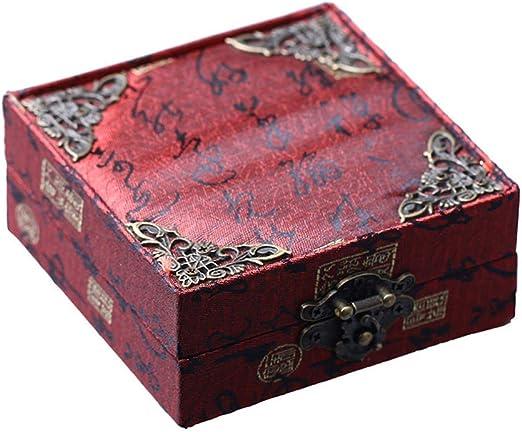 WYJW joyero Joyero Vintage Caja Pulsera Europea Caja de Pulsera Caja de joyería de Rayas metálicas (Color: Rojo ...