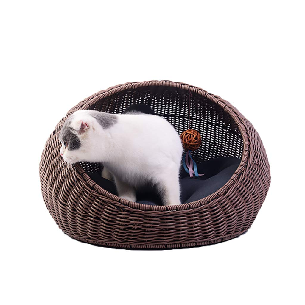 BROWN WANGXIAOLIN Pet Bed, Dog Bed, Rattan Pet Bed, Cat Bed, Mat, Four Seasons Universal, Washable (color   BROWN)