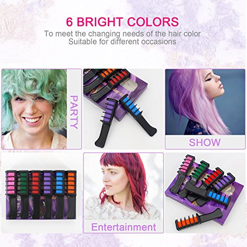Temporary Bright Hair Chalk Set - Kalolary Metallic Glitter for All Hair Colors- Built in Sealant,For Kids Hair Dyeing Party and Cosplay DIY, 6 Colors by Kalolary (Image #3)