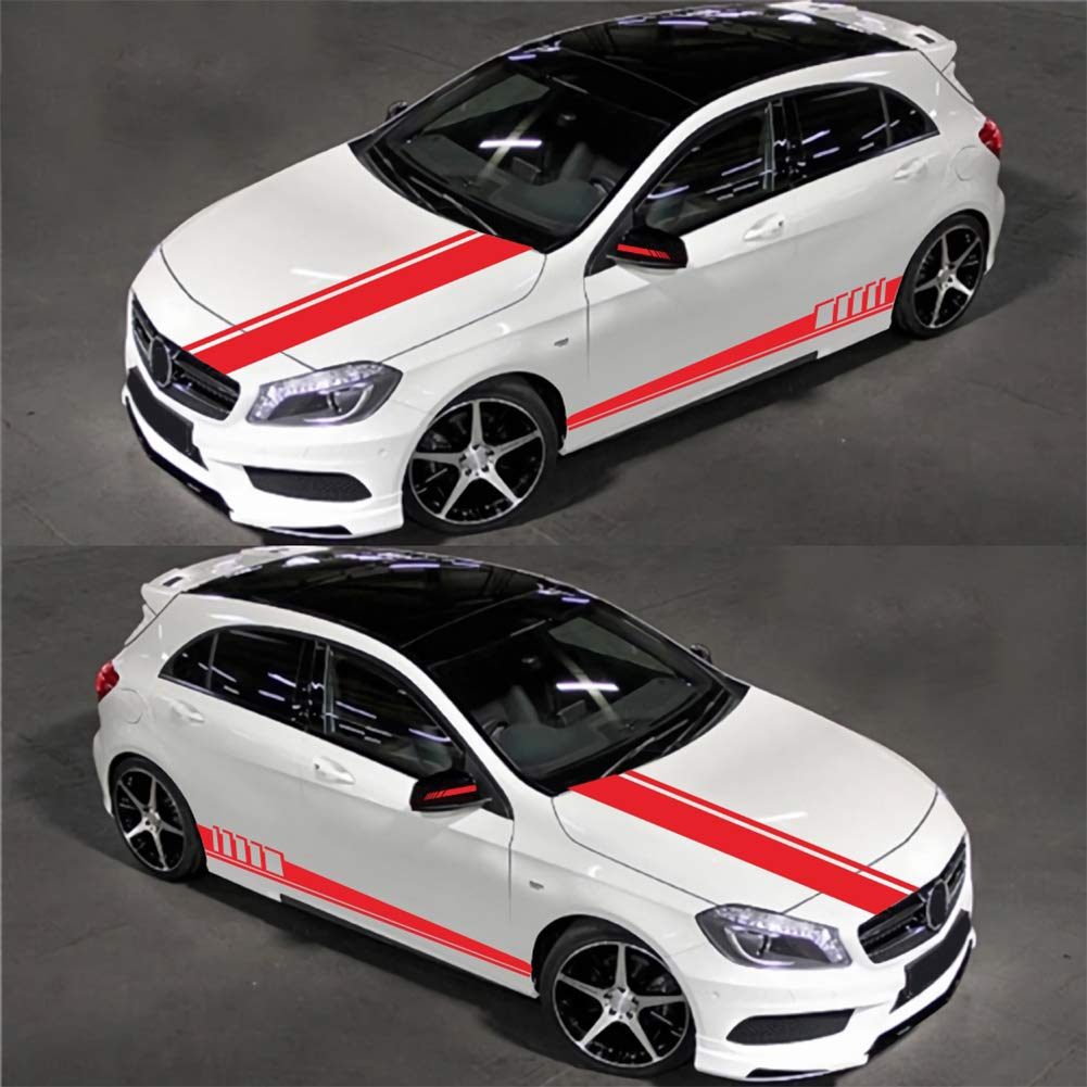 Mioloe Universal Car Racing Body Side Stripe Skirt Roof Hood Decal Sticker for All Cars Vinyl Bumper Decal