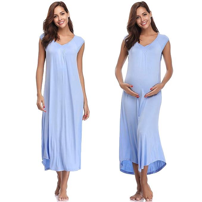 Hawiton Ropa para Dormir Premamá Algodon Pijama Mujer Verano Largo Talla Grande Camisones Embarazada sin Mangas