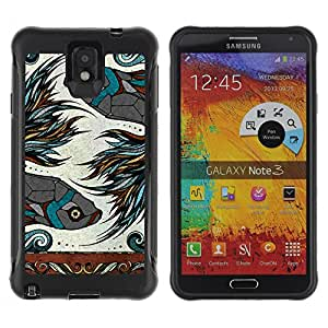 Hybrid Anti-Shock Defend Case for Samsung Galaxy Note 3 / Beautiful Zodiac Sign Fish