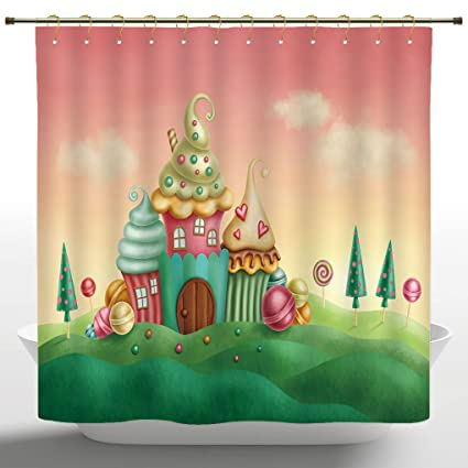 Stylish Shower Curtain By IPrintTeen Girls Decor CollectionFantasy Houses From Cupcakes Candy