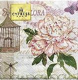 Cypress Home Cocktail Beverage Paper Napkins ~ Pink Flora Birdcage, 40 ct