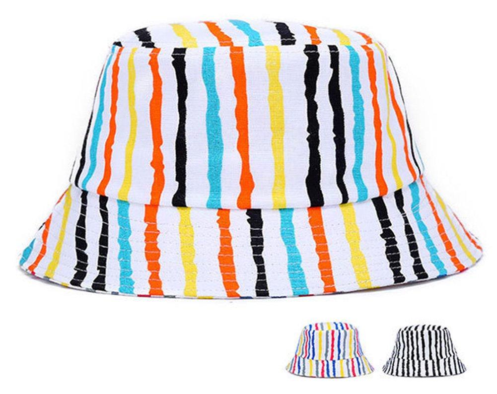 Roffatide Unisexe Rayures Color/ées Coton UPF 50 Chapeau P/êche /Ét/é Emballable Plat Chapeau de Seau