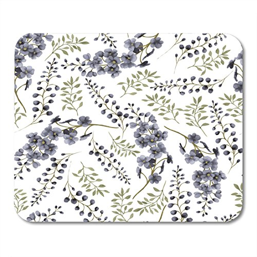 Nakamela Mouse Pads Abstract Green Flower Floral Pattern with Delphinium Watercolor Colorful Vintage Arrangement Mouse mats 9.5