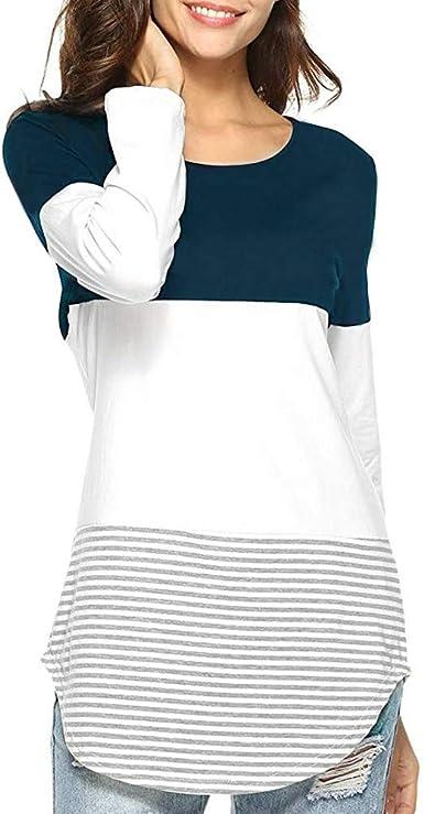 MEIbax Camisas Mujer de Manga Larga de Remera de Rayas Ocasional Sueltas Diaria de Moda Empalme de Las Mujeres Tops elásticos Blusa Primavera Sudaderas Camisa Superior Jerseys Abrigo Pullover: Amazon.es: Ropa y