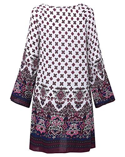 StyleDome Damen Floral Print Lose Largarm Beach Strand Freizeit Party Mini Kleider Lang Tops Röcke Weiß 4uxl42Itf