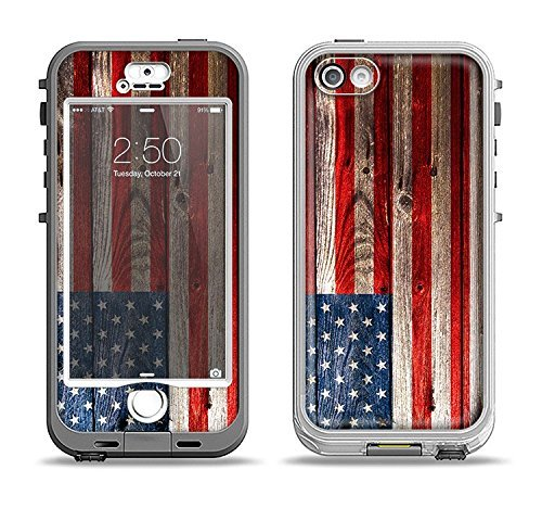 The Wooden Grungy American Flag Apple iPhone 5s LifeProof Nuud Case Skin Set (Skin Only)