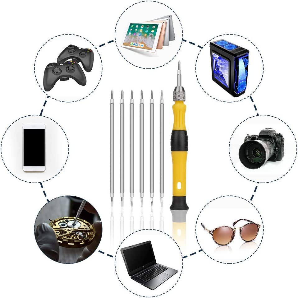 Ideal for Eyeglass,Watch,Jewelry,Laptop,Computer,Phone,Electronic Devices Precision Repair Tool Kit with 12 heads Different Size flat phillips pentalobe and Y screwdrivers 6Pcs small Screwdriver Set