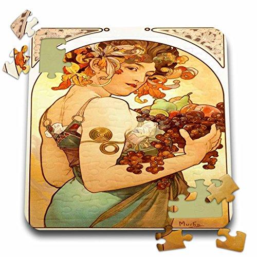 3dRose Florene Art Deco and Nouveau - Painting by Alphonse Mucha Fruit - 10x10 Inch Puzzle (pzl_61840_2)