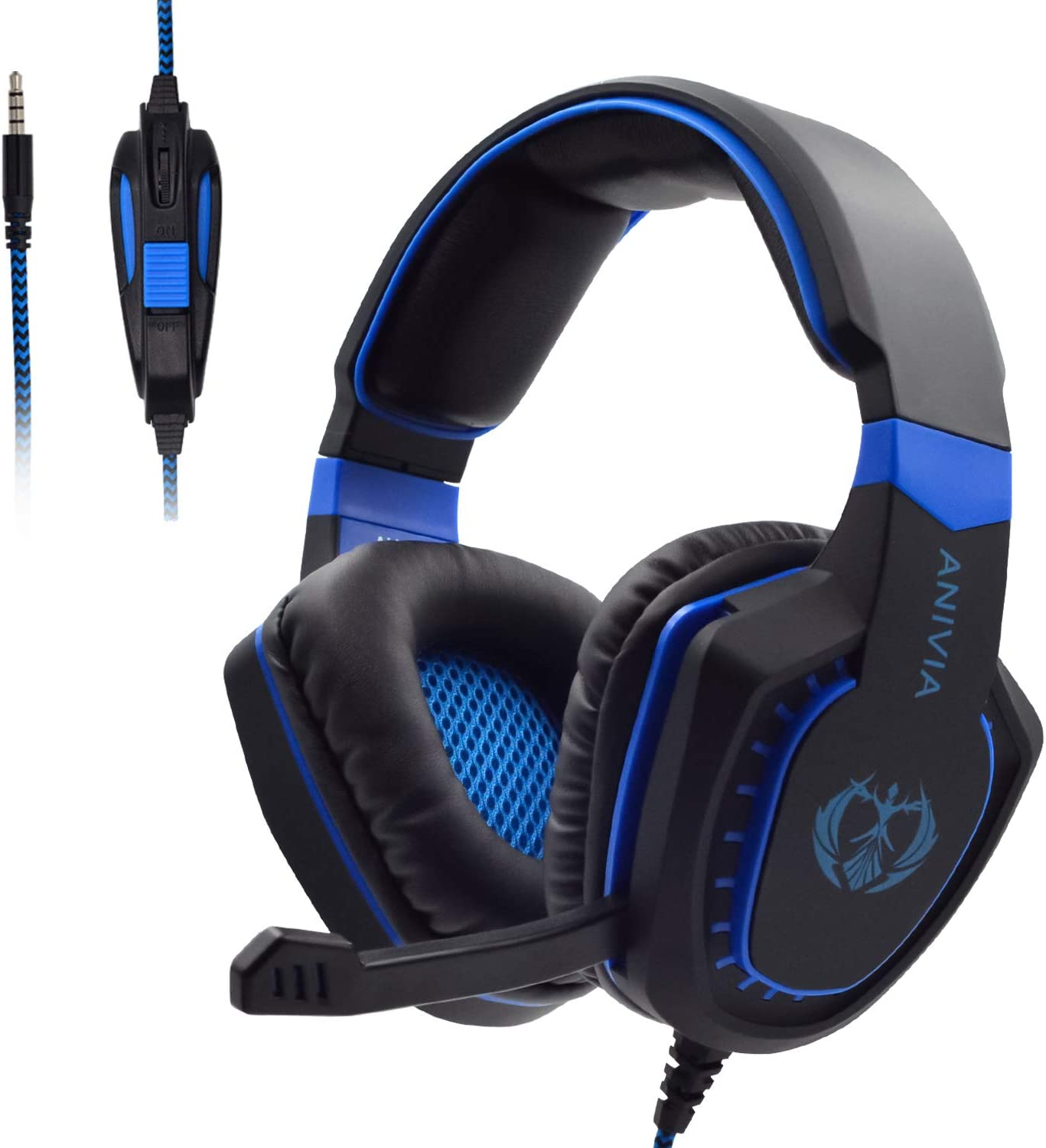 Soft Memory Earmuffs for Laptop Mac Xb One Controller Black Noise Cancelling Over Ear Headphones with Mic PC Sandistore HI-FI Sound Quality Wired Gaming Headset for PS4