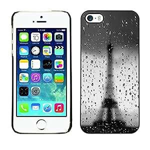 FECELL CITY // Duro Decorativo Carcasa de Teléfono PC Caso Funda / Hard Case Cover foriPhone 5 / 5S // Architecture Bokeh Rainy Eiffel Tower