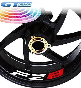GT-Design - Lote de 4 pegatinas para llantas de moto Yamaha FZ8, bicolor: Amazon.es: Coche y moto