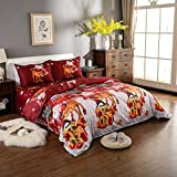 Decdeal Christmas Bedding Set 3D Printed Duvet Cover + 2pcs Pillowcases + Bed Sheet Set Christmas Bedroom Decorations--Twin/Queen/King Size