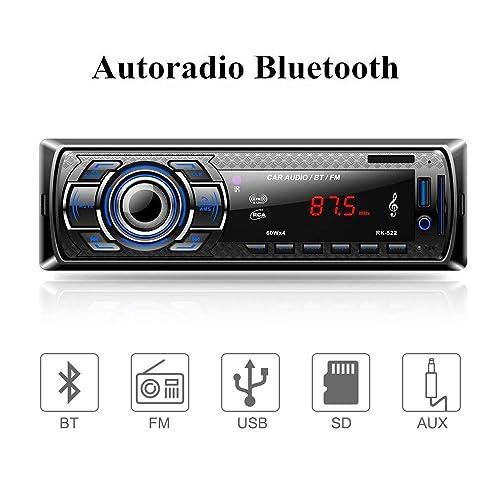 Aigoss Autoradio Bluetooth Control Remoto Manos Libres FM Estéreo de Coche 60W x 4 Apoyo de Reproductor MP3 Llamadas Manos Libres Función de Radio y de Archivo