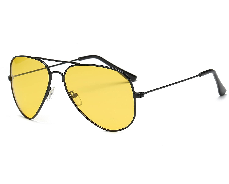 5e8e115c5e75 Red Peony Yellow Night Vision Polarized Aviator Sunglasses Mens Womens  Driving Glasses AORON Design (black): Amazon.co.uk: Clothing