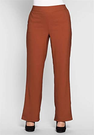 Sheego lockere Hose Sommerhose High-Waist Stoffhose Kurzgröße Große Größe  Braun, Größenauswahl 50 218f836600