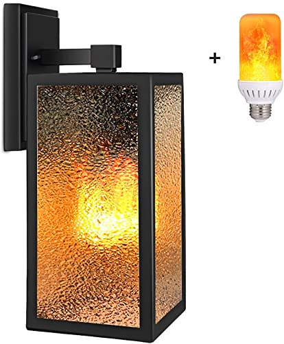 PARTPHONER Outdoor Wall Light with Gas Lamp Effect, Exterior Flickering Flame Wall Lantern, Waterproof Porch Light Fixtures Wall Mount, Textured Glass Wall Sconce Lighting for Patio, Doorway, Garage
