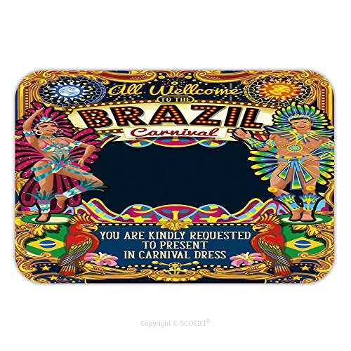 Carnival Costumes Rio (Flannel Microfiber Non-slip Rubber Backing Soft Absorbent Doormat Mat Rug Carpet Rio Carnaval People Festival Poster Illustration Brazil Night Show Carnival Party Parade 519451906 for Indoor/Outdoor/B)