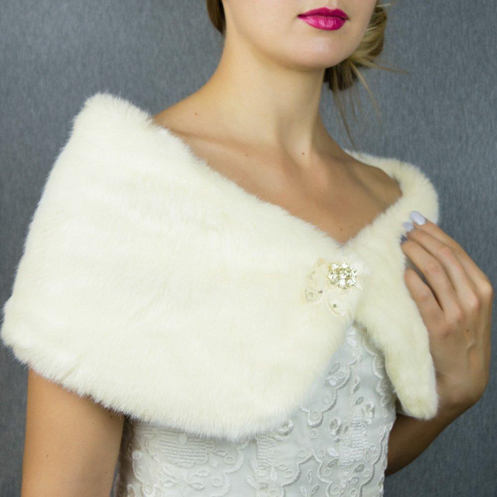 Faux fur wrap shrug stole ivory cream