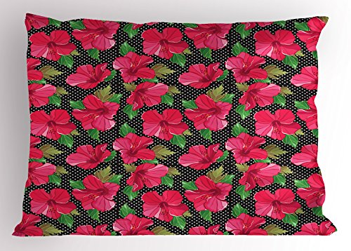 Ambesonne Hawaii Pillow Sham, Polka Dotted Background Hand Drawn Flower Hibiscus Polynesian Flora, Decorative Standard Size Printed Pillowcase, 26 X 20 Inches, Magenta Fern Green Black by Ambesonne