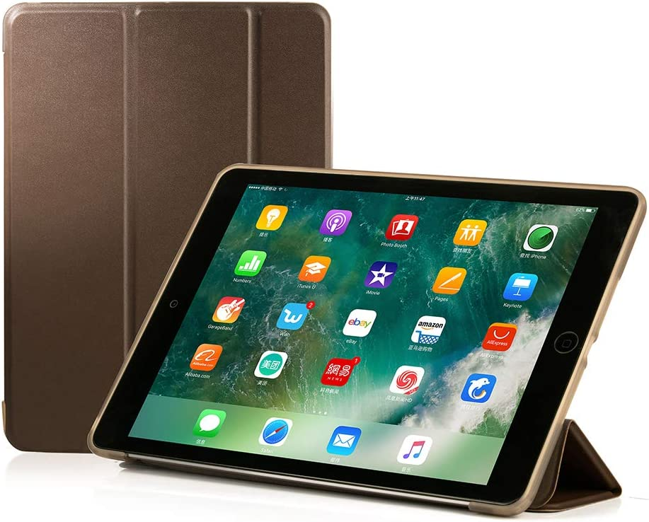 RUBAN Case Compatible with iPad (9.7-Inch, 2018/2017 Model) - Ultra Slim Lightweight Smart Shell Standing Cover with Auto Wake/Sleep Feature, Brown