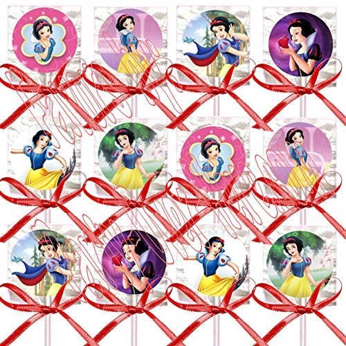 Snow White Party Favors Supplies Decorations Disney Princess Lollipops w/ Red Ribbon Bows Party Favors -12 pcs ()